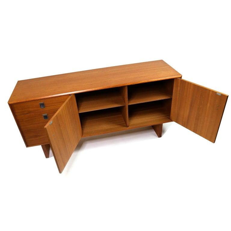 Mid-20th Century Midcentury Scandinavian Modern Teak Credenza Petite Low Profile Media Cabinet For Sale
