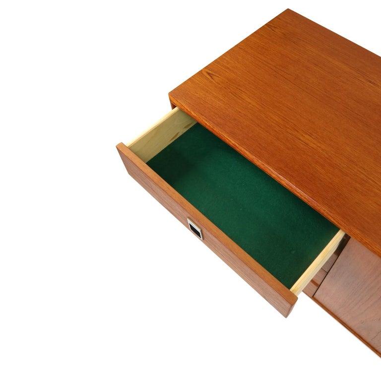 Midcentury Scandinavian Modern Teak Credenza Petite Low Profile Media Cabinet For Sale 1