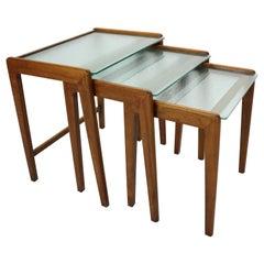Midcentury Scandinavian Modern Walnut and Glass Nesting Tables, Denmark, 1960