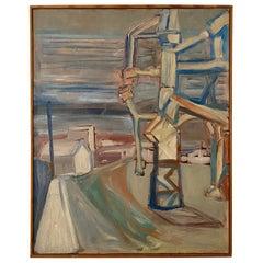 Midcentury Scandinavian Oil Painting of an Industrial Scene in Original Frame