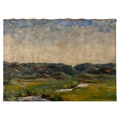Midcentury Scandinavian Oil Painting of a Landscape, Denmark, circa 1940