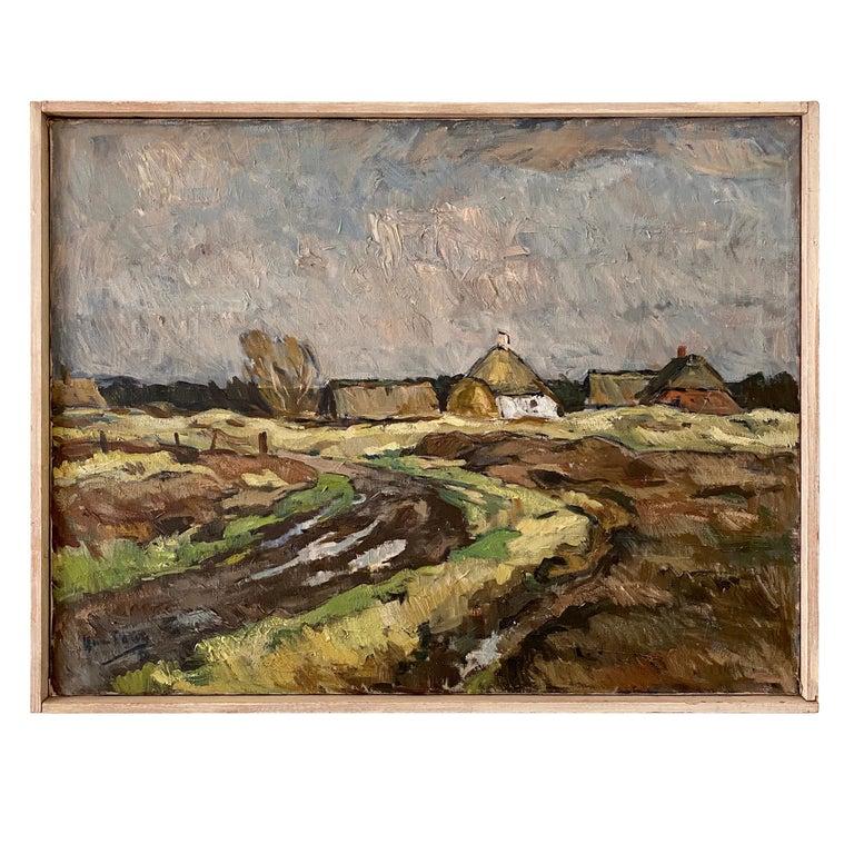 Midcentury Scandinavian Oil Painting of a Landscape in Original Frame, Denmark For Sale