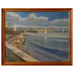 Midcentury Scandinavian Oil Painting of a Landscape in Original Frame, Denmark