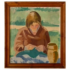 Midcentury Scandinavian Oil Painting of a Woman in Original Frame, Denmark