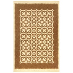 Midcentury Scandinavian Reversible Flat-Weave Rug in Geometric Design