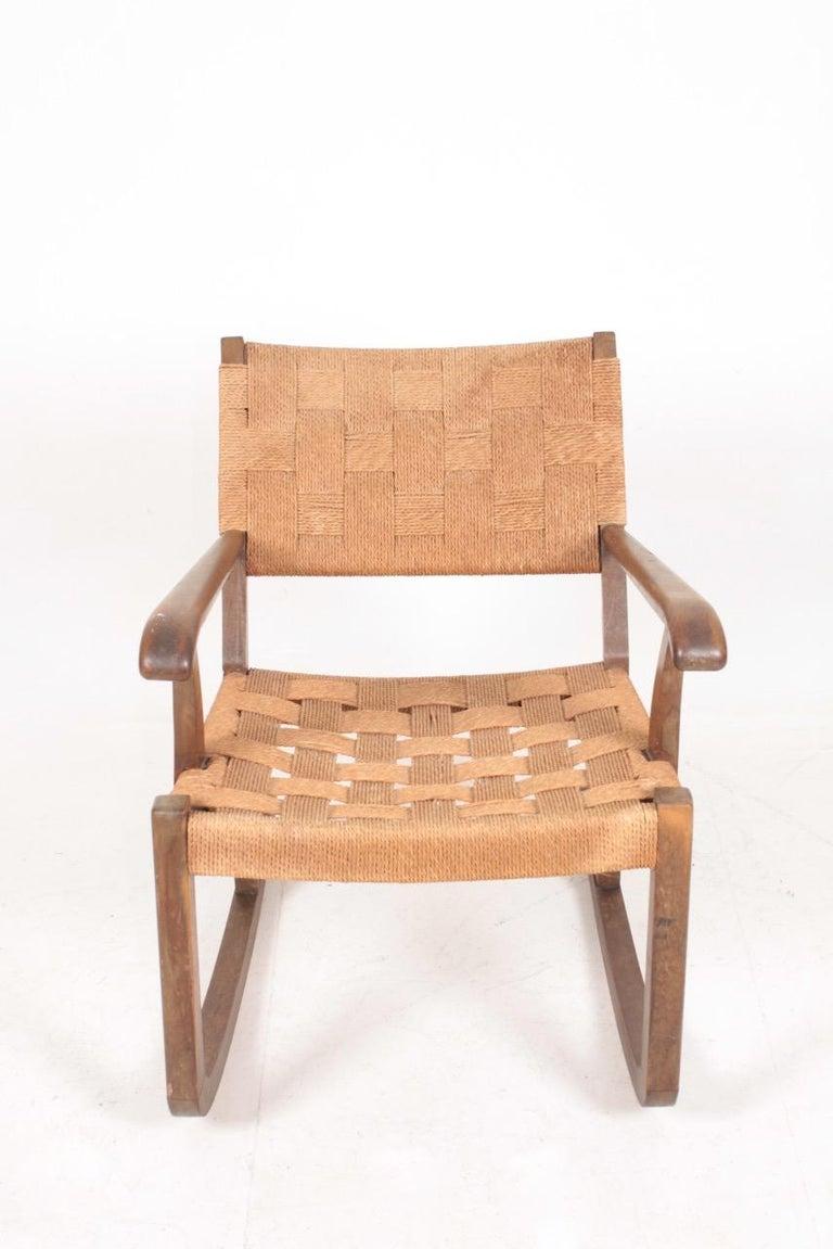 Swedish Midcentury Scandinavian Rocking Chair in by Fritz Hansen, 1950s For Sale