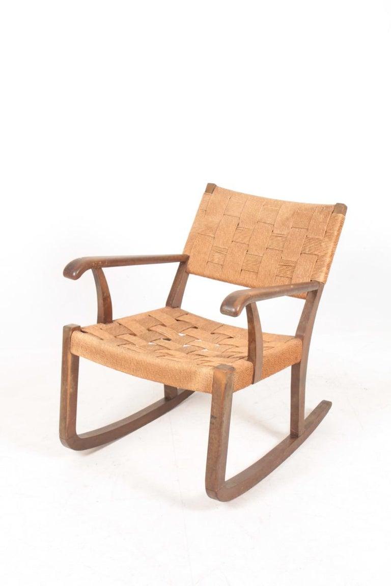 Mid-20th Century Midcentury Scandinavian Rocking Chair in by Fritz Hansen, 1950s For Sale