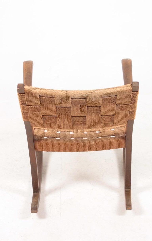 Midcentury Scandinavian Rocking Chair in by Fritz Hansen, 1950s For Sale 1
