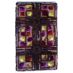 Midcentury Scandinavian Rya Rug or Wall Hanging in Geometric Multi-Color Pattern