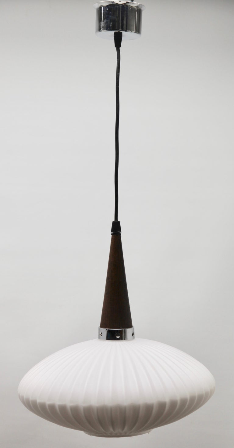 Midcentury Scandinavian Set of Pendant Lights, Wenge with Optical Opaline Shade For Sale 2