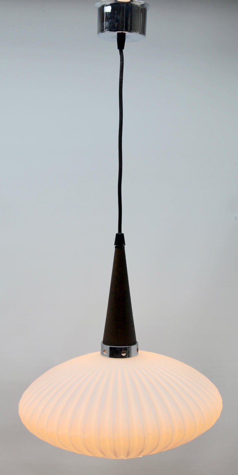 Mid-20th Century Midcentury Scandinavian Set of Pendant Lights, Wenge with Optical Opaline Shade For Sale