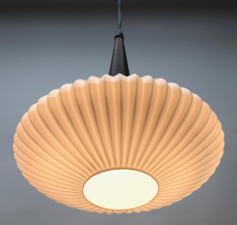 Opaline Glass Midcentury Scandinavian Set of Pendant Lights, Wenge with Optical Opaline Shade For Sale