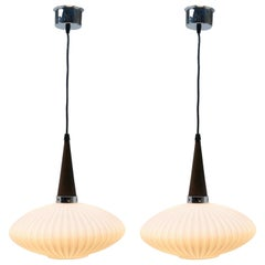 Midcentury Scandinavian Set of Pendant Lights, Wenge with Optical Opaline Shade