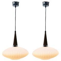 Midcentury Scandinavian Set of Pendant Lights, Wenge with Optical Opaline Shade
