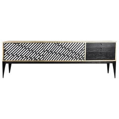 Midcentury Scandinavian Sideboard with Drawers and Hand Painted Pattern, 1960s