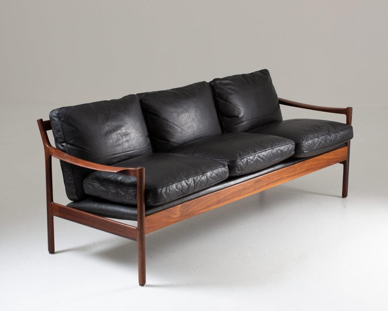 Mid-Century Modern Midcentury Scandinavian Sofa in Leather and Rosewood by Torbjørn Afdal For Sale