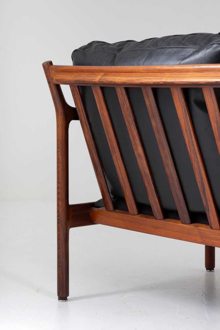 20th Century Midcentury Scandinavian Sofa in Leather and Rosewood by Torbjørn Afdal For Sale