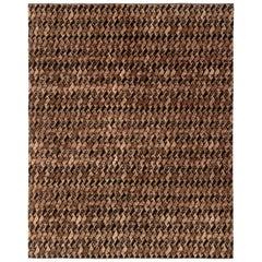Rug & Kilim's Midcentury Scandinavian Style Rug Beige-Brown Black Pattern