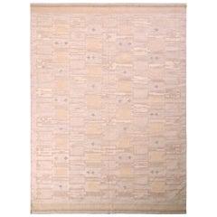 Rug & Kilim's Midcentury Scandinavian-Style Rug Cream Beige Geometric Pattern