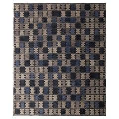 Midcentury Scandinavian Style Silver-Gray Blue Geometric Pattern by Rug & Kilim