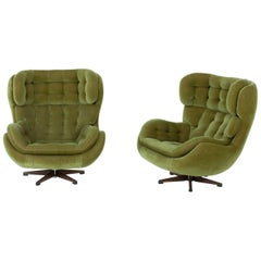 Midcentury Scandinavian Swivel Lounge Chairs by Swedfurn