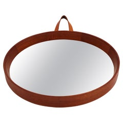 Midcentury Scandinavian Teak Mirror with Leather Strap, 1950s