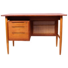 Midcentury Scandinavian Teak, Oak and Cane Desk, 1950s