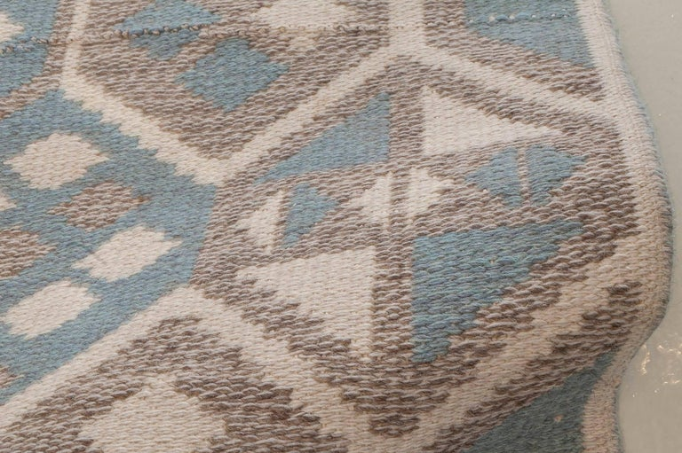 Mid-Century Modern Midcentury Scandinavian Wool Rug with Honeycomb Design in Blue-Grey and Brown For Sale