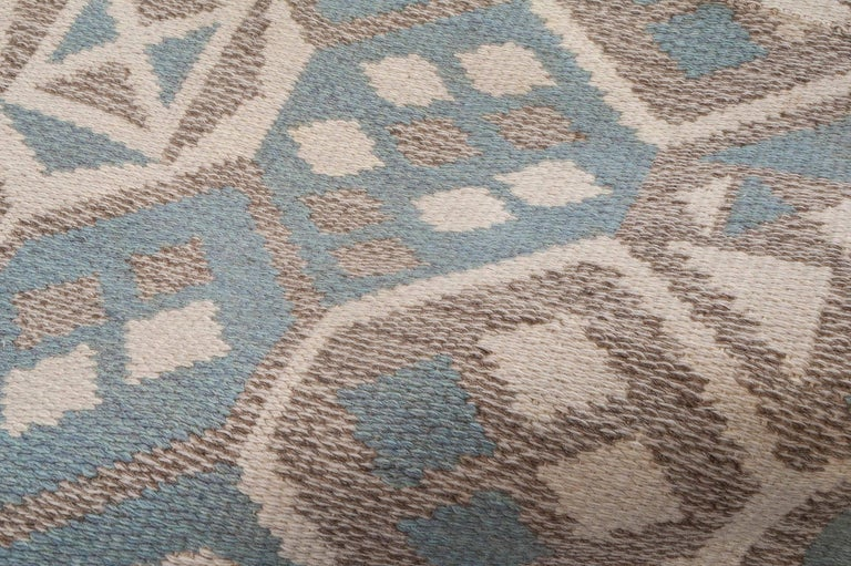 Swedish Midcentury Scandinavian Wool Rug with Honeycomb Design in Blue-Grey and Brown For Sale