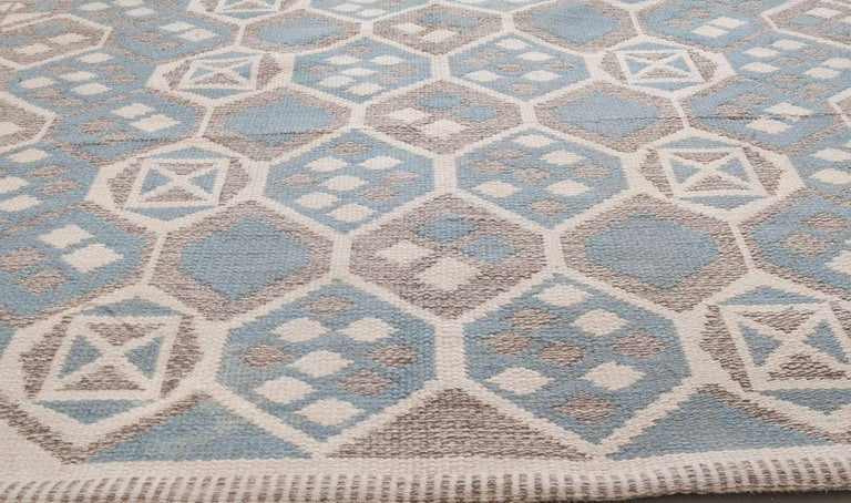 Hand-Knotted Midcentury Scandinavian Wool Rug with Honeycomb Design in Blue-Grey and Brown For Sale