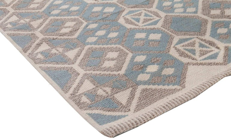 Midcentury Scandinavian Wool Rug with Honeycomb Design in Blue-Grey and Brown In Good Condition For Sale In New York, NY