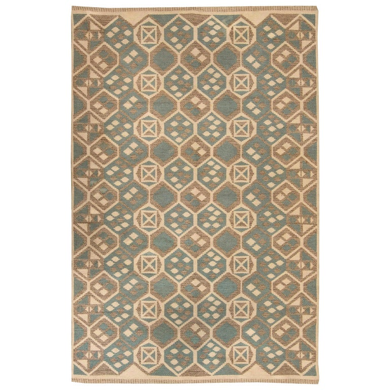 Midcentury Scandinavian Wool Rug with Honeycomb Design in Blue-Grey and Brown For Sale