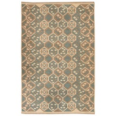 Midcentury Scandinavian Wool Rug with Honeycomb Design in Blue-Grey and Brown