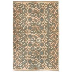 Midcentury Scandinavian Wool Rug with Honeycomb Design in Blue-Grey and Brown