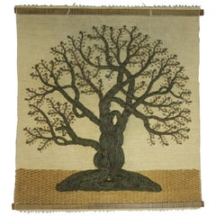 Midcentury Scandinavian Woolwork Tree Wall Hanging Sculpture