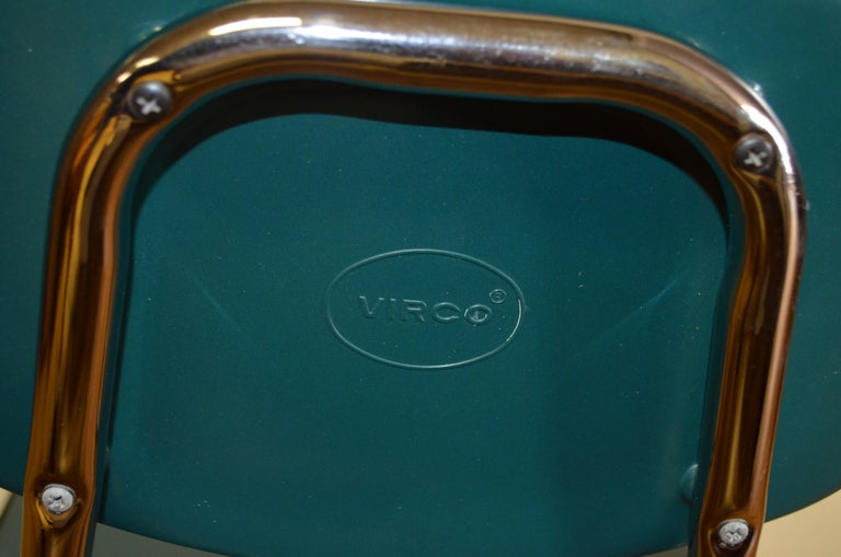 Midcentury School Chair Green Fiberglass Steel Chrome Book Basket, 30 Available For Sale 4