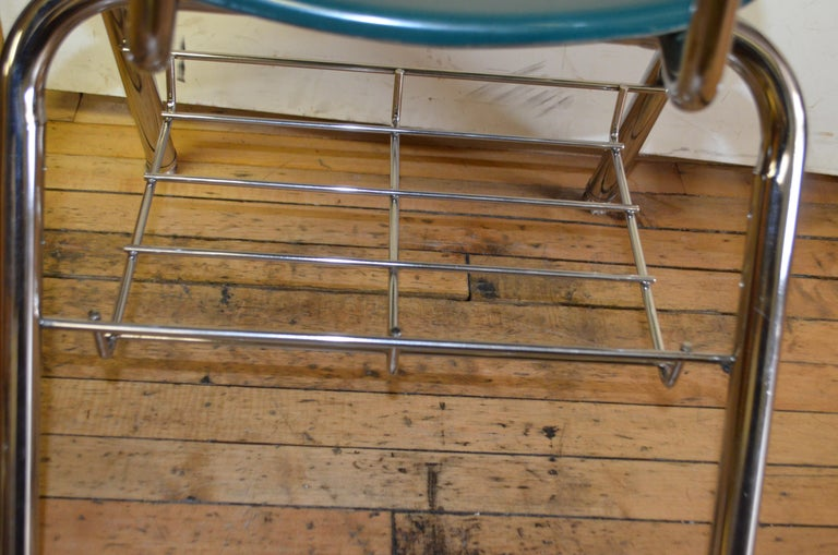 Midcentury School Chair Green Fiberglass Steel Chrome Book Basket, 30 Available For Sale 5