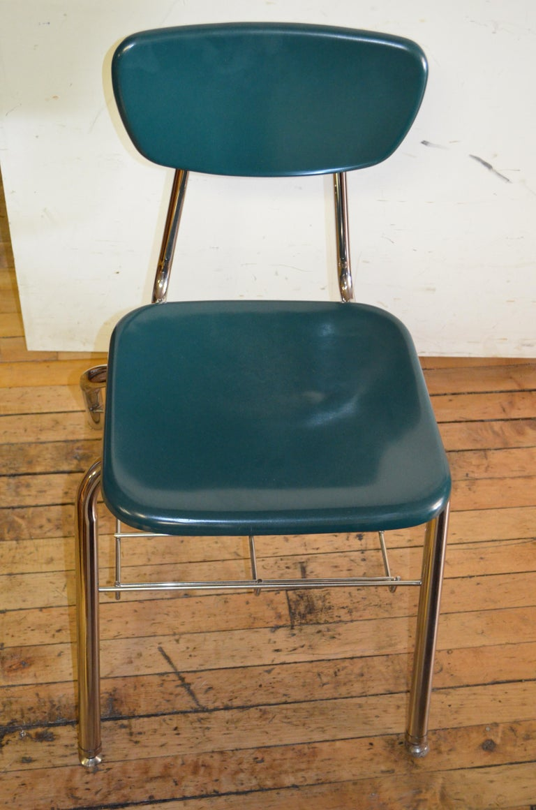 Midcentury School Chair Green Fiberglass Steel Chrome Book Basket, 30 Available For Sale 6