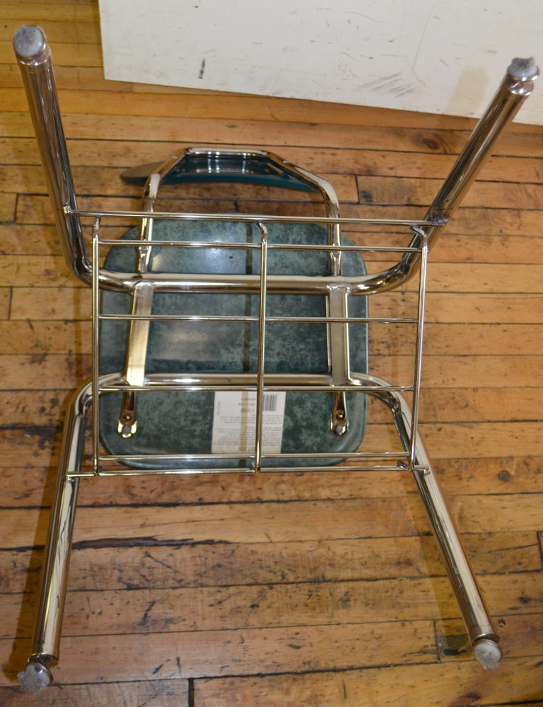 Midcentury School Chair Green Fiberglass Steel Chrome Book Basket, 30 Available For Sale 7