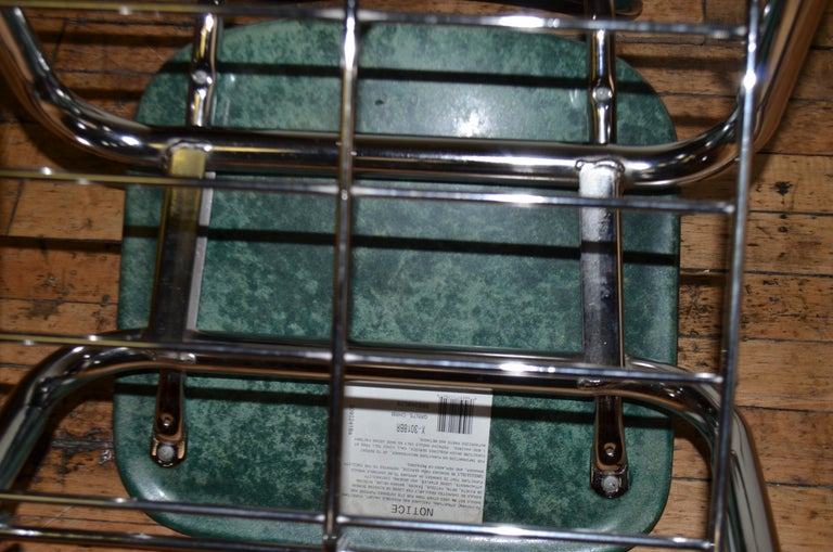 Midcentury School Chair Green Fiberglass Steel Chrome Book Basket, 30 Available For Sale 8