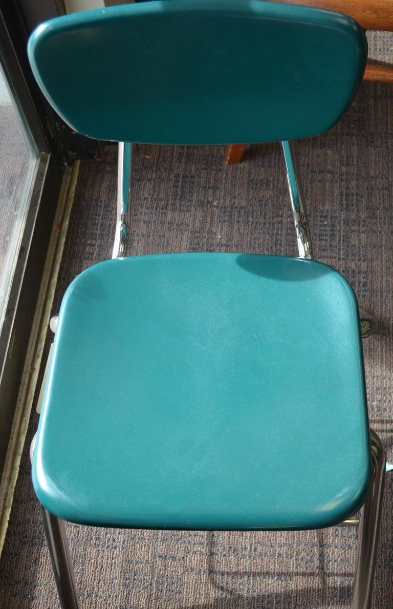 Midcentury School Chair Green Fiberglass Steel Chrome Book Basket, 30 Available For Sale 9