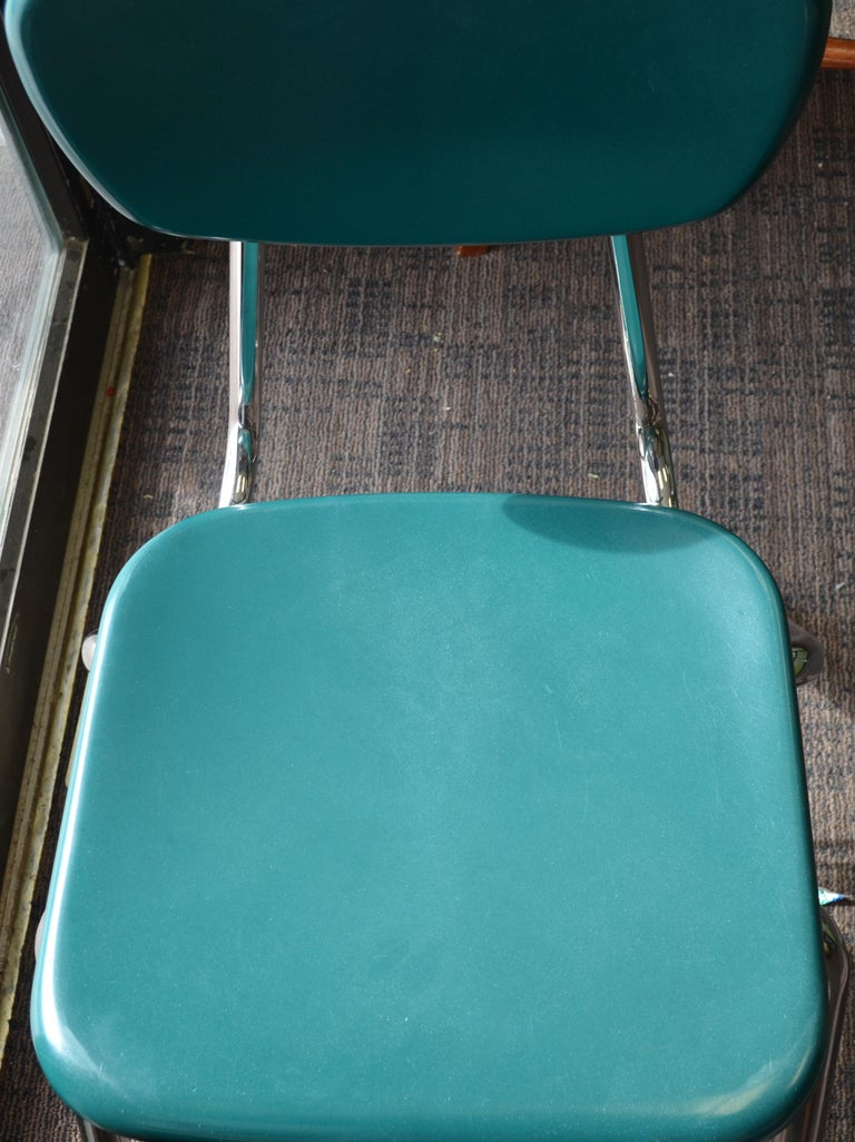 Midcentury School Chair Green Fiberglass Steel Chrome Book Basket, 30 Available For Sale 10