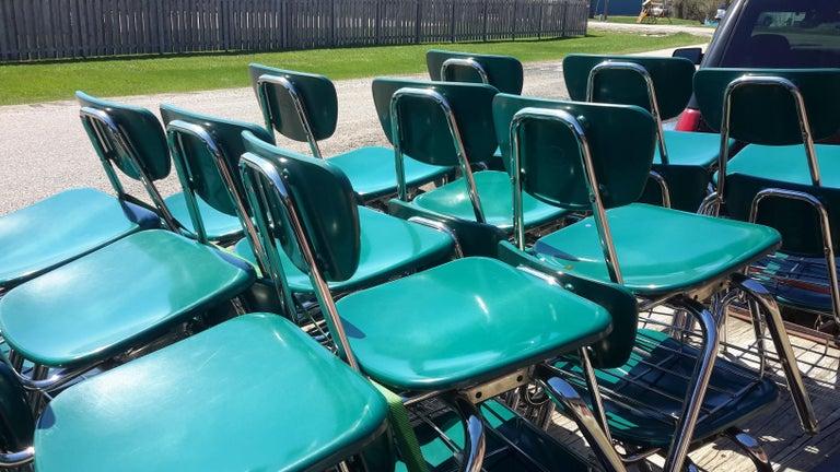 Mid-Century Modern Midcentury School Chair Green Fiberglass Steel Chrome Book Basket, 30 Available For Sale