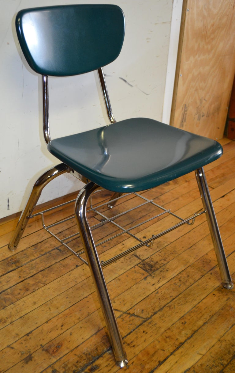 American Midcentury School Chair Green Fiberglass Steel Chrome Book Basket, 30 Available For Sale