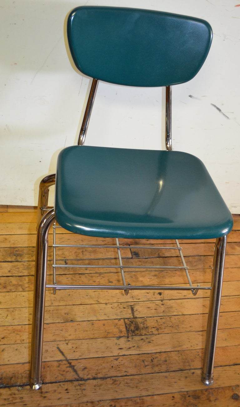 Midcentury School Chair Green Fiberglass Steel Chrome Book Basket, 30 Available In Good Condition For Sale In Madison, WI