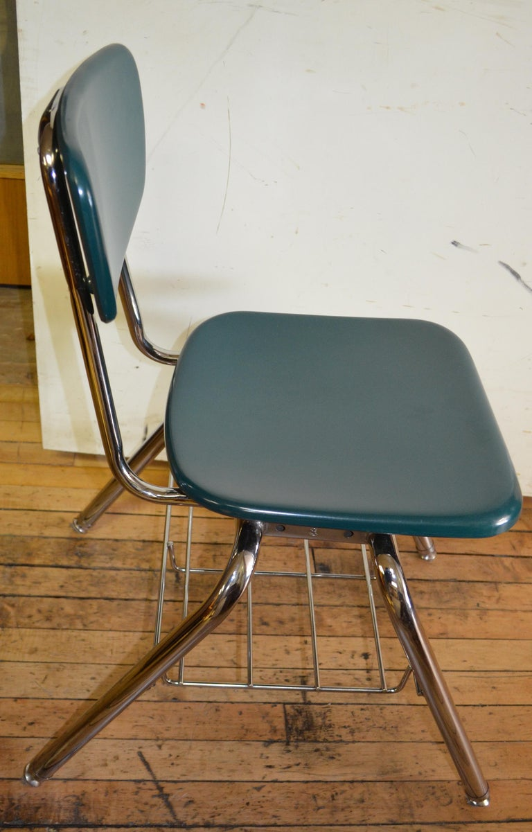 Midcentury School Chair Green Fiberglass Steel Chrome Book Basket, 30 Available For Sale 1