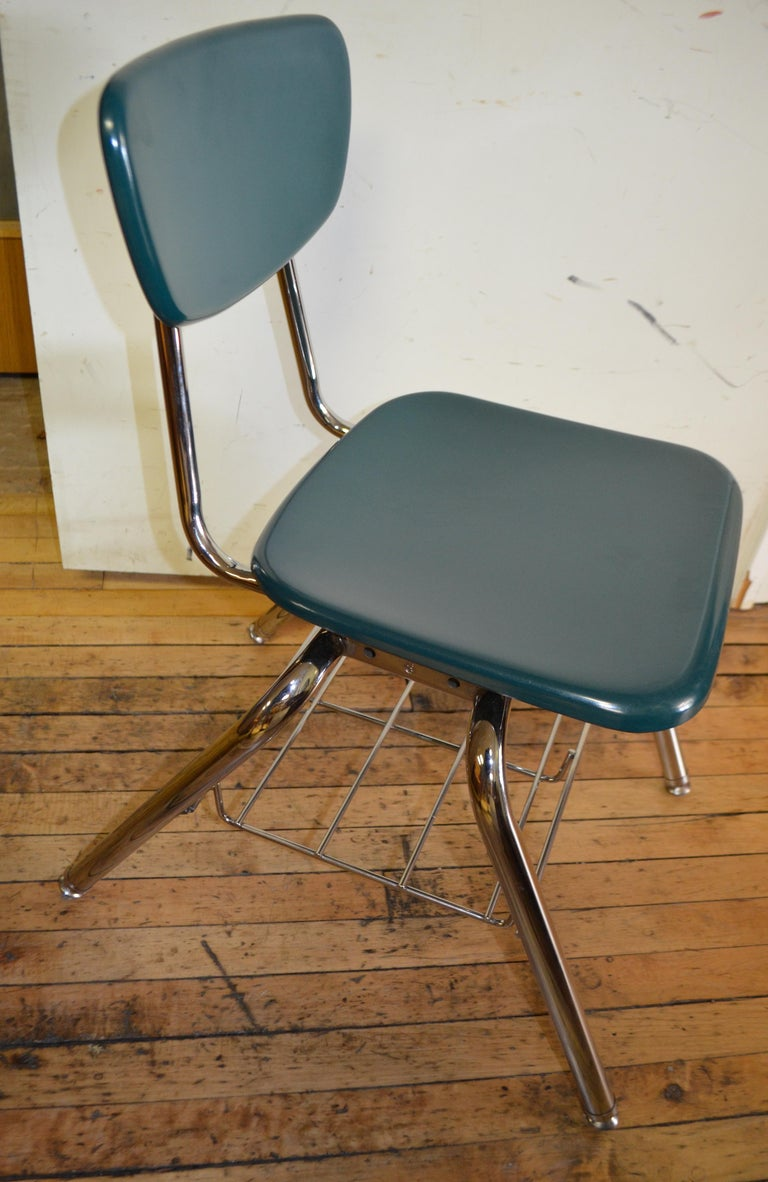 Midcentury School Chair Green Fiberglass Steel Chrome Book Basket, 30 Available For Sale 2