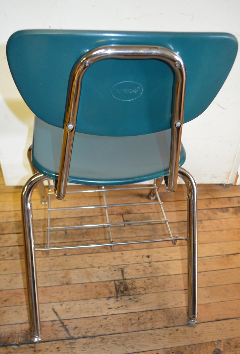 Midcentury School Chair Green Fiberglass Steel Chrome Book Basket, 30 Available For Sale 3
