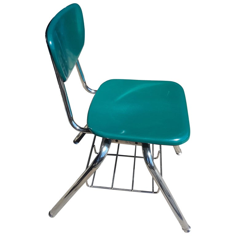 Midcentury School Chair Green Fiberglass Steel Chrome Book Basket, 30 Available For Sale