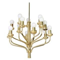 Midcentury Sciolari Style Brass Chandelier, 1970s